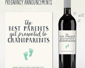 Pregnancy Announcement - Custom Wine Labels - the best PARENTS get promoted to GRANDPARENTS - baby feet