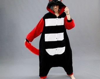 Pawstar Pirate Kitty Kigu Cat Kigurumi Red White Purple Black Adult Animal Pajamas Cat Onesie  6329