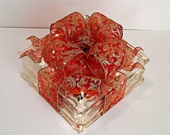 Light Up Glass Block / Present For Decoration With Red & Gold Bow