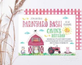 Farm Birthday Invitations / Barnyard Bash / Farm Party / Birthday Invitations