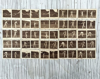 Original vintage lawn tennis illustrated cards. Sepia photographic illustrated cigarette cards. Full set of 25 cards.