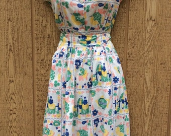 The Sweetest Summer Gal 1940's Adorable Novelty Print Romper & Skirt Playsuit SM 24-26W