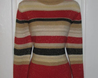 TOMMY HILFIGER SWEATER // Striped Turtleneck Pullover 90's Sweater Size L Gold Metallic Sparkly Black Red Winter Fall Preppy