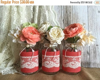 ON SALE 3 coral burlap and natural lace covered mason jar vases, wedding, bridal shower, baby shower table decoration
