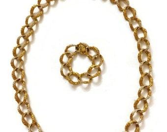 Vintage Ciner Rhinestone Chain Link Long Necklace and Bracelet Set