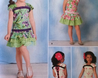 Simplicity 1627 Child Size A 3-8 Corset-Style Tops and Skirt Pattern  UNCUT