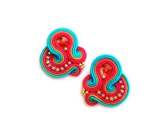 Valentines Day gift for wife - Clip on Earrings - Soutache Earrings Gift for girlfriend Gift for coworker Valentines Day gift for girlfriend