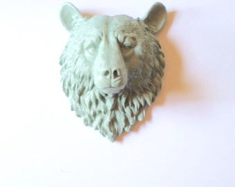 LITE GREEN GREY Large Faux Taxidermy Bear Head wall mount wall hanging/ faux animal head / farmhouse decor / kids room / adventure theme /