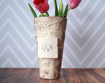 PERSONALIZED Wedding Gift - Monogrammed Birch Vase