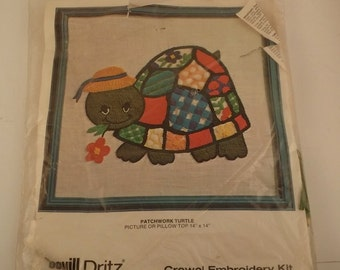 Vintage 14 by 14 Pillow Crewel Embroidery Kit -- Scovill Dritz Patchwork Turtle, Whimsical Multi-colored Turtle, in Original Package