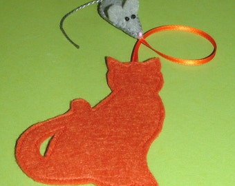 Bookmark cat & mouse for bookworms felt - bookmark - mouse - cat - felt