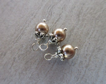 3pc Swarovski Pearl dangles, 6mm round Bronze crystal pearl charms with silver bead cap, wire wrap earring dangle bridesmaid charm SWPD105