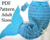 KNITTING PATTERN Mermaid Tail Blanket for Adults 4 Sizes Digital File Instant Download