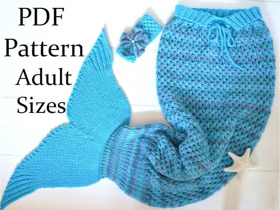 Knitting Pattern For Baby Mermaid Blanket : KNITTING PATTERN Mermaid Tail Blanket for Adults 4 Sizes