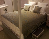 Luxury Custom-Sized Bedspread for Four Poster Bed Blue & Gold Silk Jacquard Rubelli Fabric Les Indes Galantes Pattern - Handmade in Italy