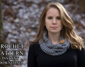 CROCHET PATTERN Cowl with Button Band, Cluster Stitch Cowl, Beginner One Skein Scarf, Instant Download