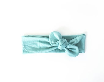 mint, seafoam, aqua, knotted headband, top knot head wrap, cotton jersey stretch headband, tie bow wrap - one size fits all
