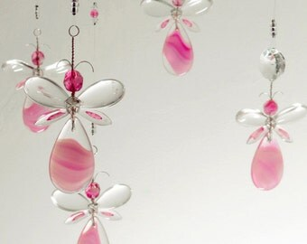 Girls Room Decor Xmas Gift Pink Fairy Chandelier Mobile Flower Mobile Angel Babyshower Gift Baby Girl Mobile Nursery Mobile Birthday Gift