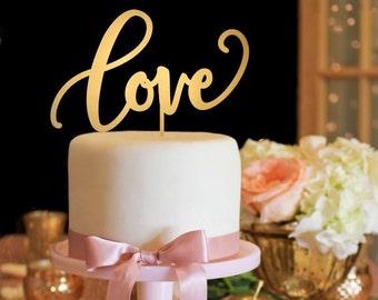 Love Cake Topper - Wedding Cake Topper - Gold Cake Topper