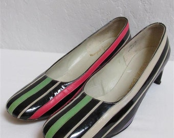 """1960's """"Margaret Gerrold"""" Black, Green, White, Hot Pink, Purple and Blue Striped Heels / Pumps - Size: 8 A"""