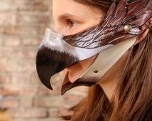 MADE TO ORDER - leather Mask Fantasy Larp Pagan costume wicca mardi gras burning man renaissance fest faire bird beak