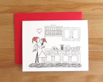 Canoodle Doodle No. 28 - Kitchen Kiss - Christmas Version// Romantic Holiday Winter Birthday or Anniversary card for Him or Her