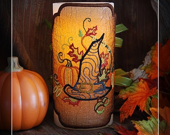 Autumn Witches Harvest Embroidered Candle Wrap For LED Flameless Pillar Candles.