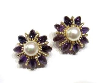Vintage Earrings, Mid-Century Amethyst and Pearl Star Earrings 14k c. 1960, Antique Earrings, Pearl Earrings, Modernist Earrings