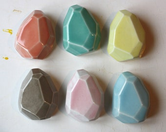extra large faceted stone brooch, glazed porcelain