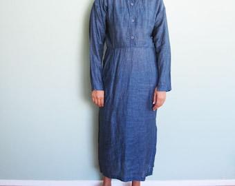 Vintage Calvin Klein Dress / Blue Linen Maxi Dress / Long Sleeve / Minimalist Clothing