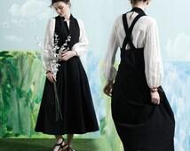 maxi linen dress in black, linen halter dress, long linen dress in black, Maxi Sundress,Custom Made, linen dress, linen overall, black dress