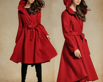 Red Wool Coat, Red Jacket, Hooded Wool Coat, Winter Coat, Red Coat, Wool Blazer, Long Sleeve Coat, Flared Coat, Plus Size Xl,xxl