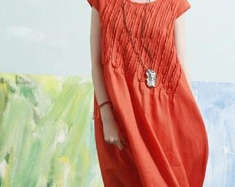 Linen Dress In Orange, Tunic Dress, Midi Dress, Beach Dress, Long Linen Dress, Shirt Dress, Ruffle Dress, Boho Dress, Cocktail Dress, Prom