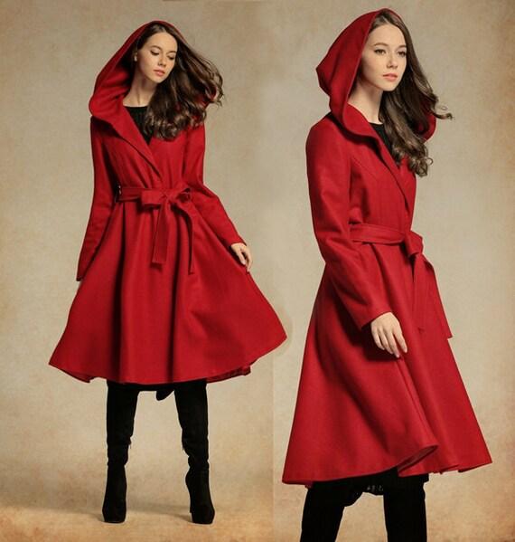 Red Wool Coat, Red Jacket, Hooded Wool Coat, Winter Coat, Red Coat, Wool Blazer, Long Sleeve Coat, Flared Coat, Plus Size XL,XXL