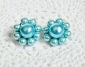 Blue Bead Earrings, Clip On Signed Japan, Frosty Silvery Aqua Blue Vintage Bead Cluster Earrings