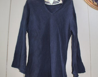 Black Linen Witchy Pointed Hood Bell Sleeved Tunic
