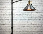 Industrial Floor Lamp - Steel Shade - Edison Bulb  - Industrial Furniture - Steampunk - Barn Light