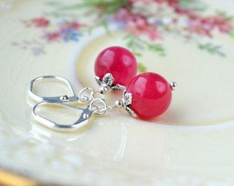 Dark Pink Earrings, Silver Leverback Earrings, Girlfriend Gift, Pink Bead Earrings, Vintage Style Jewelry, Faux Stone Red Jade Earrings, UK