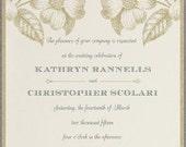 Etched Flowers Wedding Invitation - Sample - Rustic Wedding - Vintage Wedding