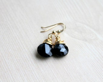 Black Spinel Gemstone Earrings, 14k Gold Filled, Wire Wrapped Earrings, Black Spinel Earrings, Teardrop Earrings, Black and Gold Earrings