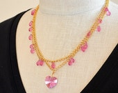 SALE Delicate pink heart necklace Boho crystal drop multi layer gold chain necklace Multistrand necklace Easter spring summer jewelry