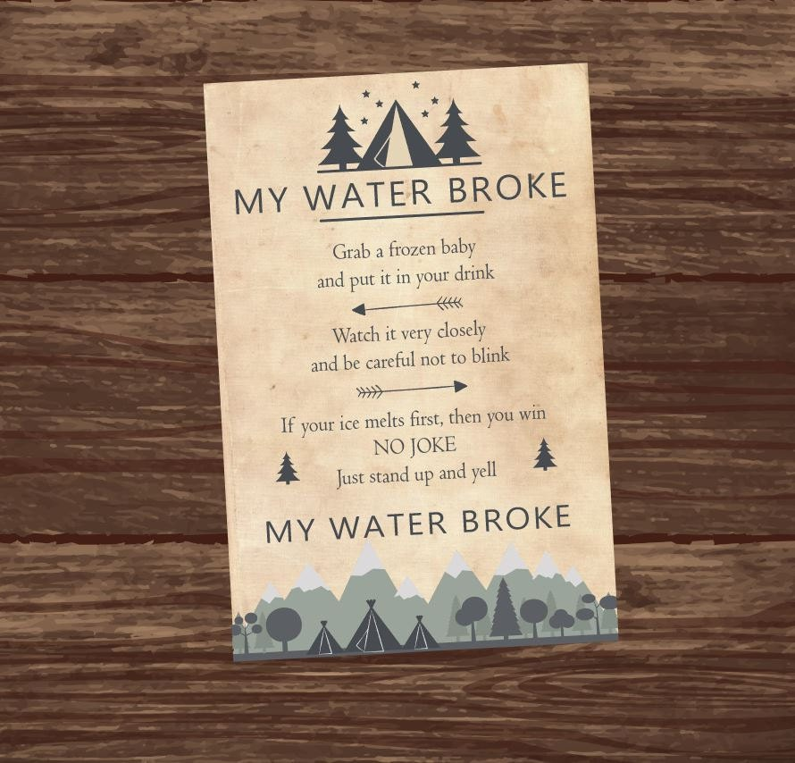 my water broke baby shower game melt ice cube printable