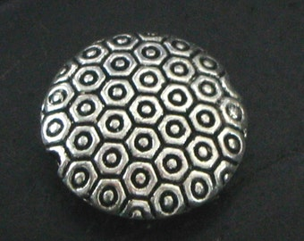 Round Puffy Stamped Circle Design Pewter Spacer Beads - Design on Both Sides - Set of 6