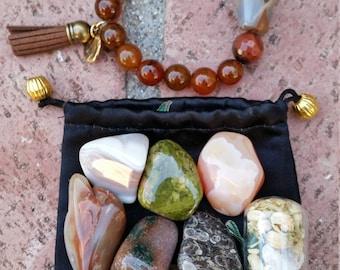 Beaded bracelet gemstone chakra meditation set