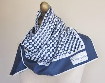 vintage scarf, Pierre Cardin scarf, navy white square scarf, neat square scarf, vintage scarf, headscarf