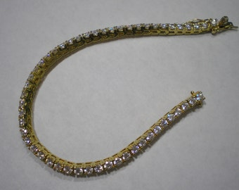 Bracelet de Tennis Vintage argent Vermeil CZ 7,25 pouces
