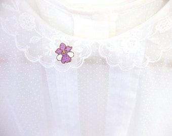 Orchid cross stitch collar pin, Vanda Miss Joaquim Orchid, Singapore National Flower