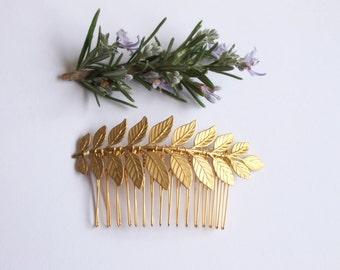Maia Gold Laurel Leaf hair comb - whimsical, woodland, Grecian, bridal haircomb, wedding hair accessories, gold hair comb