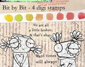 Bit by Bit - two quirky characters with sentiments; 4 digi stamp set
