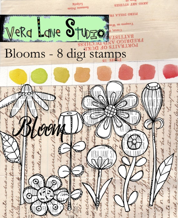 Blooms - 8 digi stamps/ whimsical flowers and buds